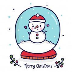 Vivid8 | Freepik Easy Christmas Ornaments, Christmas Snow Globes, Christmas Clipart, Christmas Art, Wallpaper Natal, Harry Potter Drawings, Kawaii Doodles, Christmas Characters, Christmas Drawing