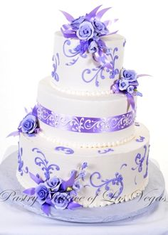 Pastry Palace Las Vegas - Wedding Cake #1097 – Lavender Roses & Ribbons