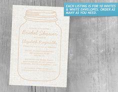 Peach Rustic Burlap Mason Jar Bridal Shower Invitations
