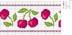 Artesanato em crochê e ponto cruz: Gráfico pano de prato cereja e crochê