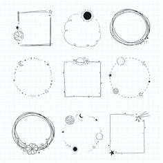 Bullet Journal Mood Tracker Ideas, Bullet Journal Writing, Book Journal, Doodle Frames, Easy Frame, Doodle Art Journals, Sketch Notes, Doodle Designs, Embroidery Patterns Free