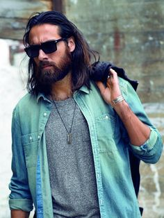 beard hair sunglasses denim shirt jacket leather streetstyle fashion men tumblr menswear