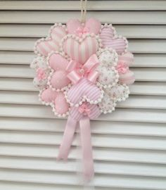 how to make deco mesh and flowers spring wreath Valentine Wreath, Valentine Decorations, Valentine Crafts, Heart Crafts, Baby Crafts, Hobbies And Crafts, Crafts To Make, Sewing Crafts, Sewing Projects