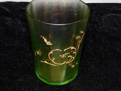 Antique IRIDESCENT Satin Glass VASELINE Tumbler RAISED GOLD Decoration Moser #VictorianArtNouveau