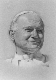 Sketch of st John Paul Papa Juan Pablo Ii, Pope John Paul Ii, Papa Francisco, Catholic Saints, Forearm Tattoo Men, Christian Art, Christmas Carol, Madonna, Ikon
