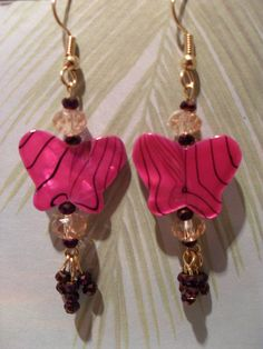 Pink Butterfly Dangle Earrings / Pink and Purple by OhEdith, $7.00