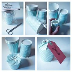 Geschenk im Pappbecher Gift in a paper cup stuff diy Home Crafts, Diy And Crafts, Crafts For Kids, Paper Crafts, Creative Gift Wrapping, Creative Gifts, Homemade Gifts, Diy Gifts, Diy Gift Box