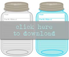 Free Printable Mason Jar Recipe Cards /// Prints 2 per page /// Instant Downloads