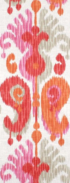 Braemore Journey Fruitty Fabric  $21.75  per yard Fabric Decor, Fabric Design, Ikat, Pattern Fashion, Bright Colors, Fabrics, Journey, Yard, Patterns