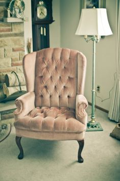 Dusky pink plush velvet wingback chair- inspired to have this by Miss Audrey's room in The Paradise! - Home Decor Ideas Velvet Wingback Chair, Tufted Chair, Wingback Chairs, Arm Chairs, Vintage Furniture, Cool Furniture, Tranquil Bedroom, Living Room Decor, Bedroom Decor