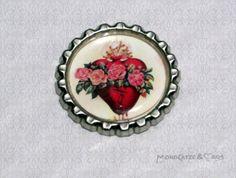 -f031a- Kronkorken Magnet, SACRED HEARTS 1, € 2,80 , bottlecap von Mondcatze´s Zauberwerkstatt auf http://de.dawanda.com/shop/Mondcatze