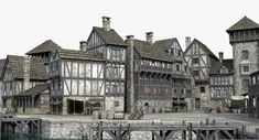 medieval port 3D Medieval Castle, Medieval Fantasy, Under The Veil, Fantasy Castle, Architecture Design, Louvre, City, Model, Image