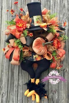 Thanksgiving Wreaths, Autumn Wreaths, Holiday Wreaths, Halloween Wreaths, Mesh Wreaths, Thanksgiving Turkey, Halloween Stuff, Thanksgiving Decorations, Halloween 2017