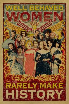 Well Behaved Women Rarely Make History poster. 12x18 Kraft paper. Art. Print. Marilyn Monroe. Bette