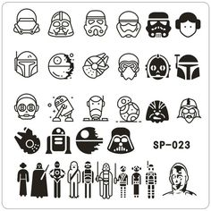 nail stamping plates cartoon stamping plate SP design nail art image plate Equipment Stamp Stamping Plates Manicure Template Nail Stamping nail stamping with foil Star Wars Tattoo, Star Tattoos, Death Star Tattoo, R2d2 Tattoo, Game Tattoos, Batman Tattoo, Star Wars Nails, Star Wars Shoes, Star Wars Schmuck