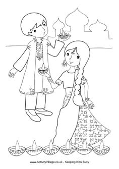 Children with diya lamps colouring page