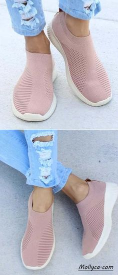 Buy 2 Got OFF Code: mollyca Breathable Jackeline Slip On Sneakers Fly-knit Fabric Athletic Sneakers. I want black ones. Comfy Shoes, Cute Shoes, Me Too Shoes, Casual Shoes, Look Fashion, Fashion Shoes, Fashion Accessories, Fashion Outfits, Womens Fashion