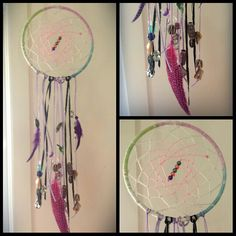 DREAMCATCHER 15cm Hoop multicolour  Features feathers and gemstone beads as well as colourful beads and shells and ribbons.  Made to Order from $35 plus $5 post within Australia  www.facebook.com/chalcedonyrose  Handmade -  Unique -  great gift :)