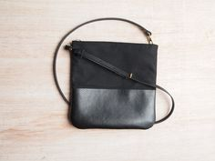 Black Canvas and Leather Cross Body Bag  Little by JeanieDeans, $63.00