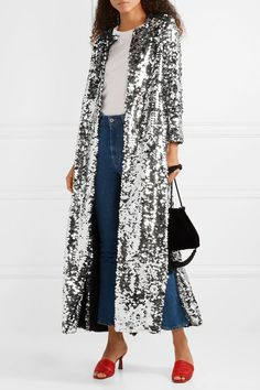 The best holiday sequin jackets. We Are Leone Morgan Sequined Tulle Coat Sparkle Outfit, Sequin Outfit, Sequin Kimono, Sequin Jacket, Festival Coats, Festival Outfits, Modest Outfits, Simple Outfits, Abaya Fashion