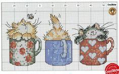 Cross stitch cats in coffee mugs Cat Cross Stitches, Cross Stitch Bookmarks, Cross Stitch Needles, Cross Stitch Baby, Cross Stitch Animals, Cross Stitch Charts, Cross Stitch Designs, Cross Stitching, Cross Stitch Embroidery
