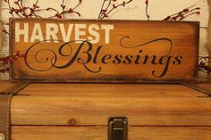 Fall decor, Harvest Blessings sign on cedar, Thanksgiving sign