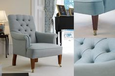 The iconic deep buttoning, quilting and scroll arms of the Chesterfield are transformed here into a delicate modern classic with beautiful details such as the curved back legs. Modern Classic, The Fresh, Accent Chairs, Armchair, Home And Family, It Is Finished, Colours, Furniture, Home Decor