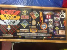 Cub Scout shadow box for bridging to Boy Scouts