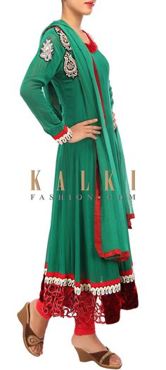 Buy Online from the link below. We ship worldwide (Free Shipping over US$100) http://www.kalkifashion.com/green-anarkali-suit-adorn-in-french-knot-and-zardosi-embroidery-only-on-kalki.html