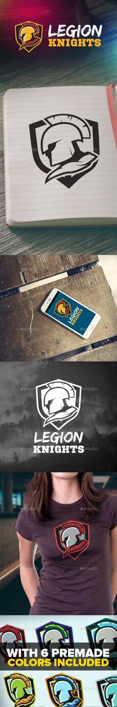 Legion Knights Logo Template PSD, Vector EPS, AI Illustrator #logotype Download here: http://graphicriver.net/item/legion-knights-logo/15491614?ref=ksioks