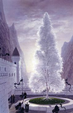 """The White Tree of Gondor, by Ted Nasmith. This is the symbol of the realm of Gondor. While there were several trees referred to as the """"White Tree,"""" the best-known of these grew in the Court of the Fountain at Minas Tirith. Jrr Tolkien, Tolkien Books, Thranduil, Legolas, Aragorn, Minas Tirith, Baum Von Gondor, Dcc Rpg, Das Silmarillion"""