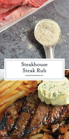 Steakhouse Steak Rub + VIDEO (The best dry rub for steak!) The Best Steak Seasoning Ever! - Steakhouse Steak Rub is a secret recipe that I received from a friend at a steakhouse. A dry rub for steak that is easy to make and store! Steak Marinade Recipes, Grilled Steak Recipes, Grilling Recipes, Beef Recipes, Cooking Recipes, Grilled Meat, Grilled Steak Marinades, Homemade Steak Marinade, Game Recipes