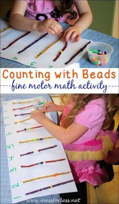 Counting Bead Fun is an easy kids activity to set up. It combines counting with fine motor practice! Counting Bead Fun is an easy kids activity to set up. It combines counting with fine motor practice! Motor Skills Activities, Preschool Learning Activities, Fun Learning, Preschool Activities, Math Skills, Space Activities, Indoor Activities, Educational Activities, Summer Activities
