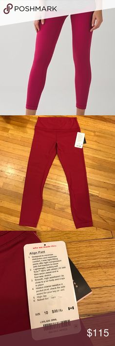 Lululemon Align Pant The most comfortable pants I've ever purchased! These are dark red (brml) and a size 10. They are the Pant not Crop. I also have a size 8. lululemon athletica Pants Leggings
