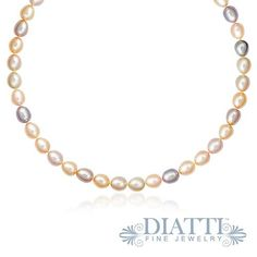 """14K Yellow Gold Clasp Pastel Multi-Color Cultured Pearl Necklace // Our lustrous pearls shimmer in a range of delicate pastel hues from pale pink to mauve with shades of peach in between. Expertly knotted in between every pearl, this cultured pearl necklace features a secure 14K yellow gold filigree clasp with a built in safety mechanism. The necklace measures 18"""" in total length. The pleasing organic shape of the pearls makes this necklace an attractive and enduring classic. $269.99"""