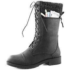 Women's DailyShoes Combat Style Lace up Ankle Bootie Round Toe Military Knit Credit Card Knife Money Wallet Pocket Boots, Black Pu, 5