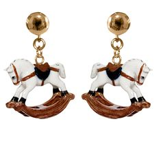 Rocking horse earring, - Porcelain figurine, hand-painted- Brass with gold plated-Sold in pairs