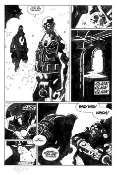 """Mike Mignola - Hellboy, The Conqueror Worm original comic art page.  """"Hey Monkey... Somebody turn off the juice?!?!?"""""""