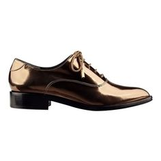 Sigerson Morrison Edie2 Oxford ($325) ❤ liked on Polyvore featuring shoes, oxfords, bronze mirror, flats, bronze flat shoes, bronze shoes, pointy-toe flats, pointed toe flats and pointed toe oxfords