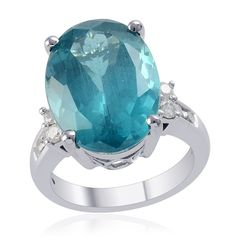 Liquidation Channel | 14K White Gold Madagascar Cerulean Blue Apatite and Diamond Ring