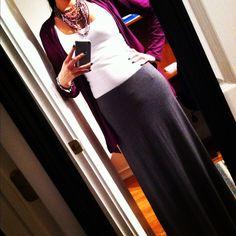 grey maxi + white tank + purple cardigan Grey Maxi, White Maxi, Purple Cardigan, Fall Outfits, High Waisted Skirt, Baby Shower, Women's Fashion, My Style, Clothing