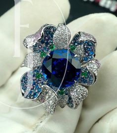 """Le jardin""collection~ ring 7.2ct Royal blue sapphire/ tsavorite /diamond/18k gold"