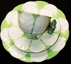 Aynsley butterfly-handle tea cup and saucer trio