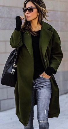 #fall #outfits women's green full-length open-cardigan