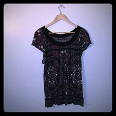 Apt. 9 9 XL Blouse Cute Apt. 9 blouse with a unique purple, black and white print. In size XL. Apt. 9 Tops Blouses