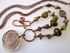 Find Your Path - ancient rusty labyrinth meditation pendant, green peridot stone nuggets, brown Lake Michigan pebbles, & copper necklace by LoveRoot, $71.00