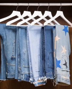 Our Guide to Designing and Organizing the Closet of Your Dreams: Here, get in on the lessons we've learned along the way (and why the next addition to your wardrobe might have nothing to do with shoes or bags). -- Light blue jeans with star patterns. | Coveteur.com