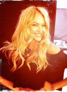 One of our favorite models, working the signature messy Victoria's Secret hairstyle