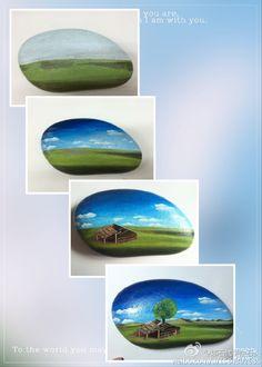 草原上的小木屋——淘宝:娜石代手绘石头 qq:1524233471..part of the painting process