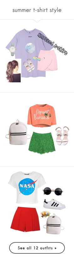 """""""summer t-shirt style"""" by leila-433 ❤ liked on Polyvore featuring Carven, American Eagle Outfitters, CLUSE, Dolce&Gabbana, Alice + Olivia, adidas, ban.do, Christian Lacroix, Converse and Chiara Ferragni"""
